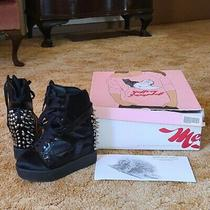Jeffrey Campbell Platform Boots Wedges Spikes Rodman Pony Fur Goth Punk Leather Photo