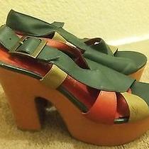 Jeffrey Campbell Platform Sandal Retro Vintage Style Multi Rare Size 6 Photo