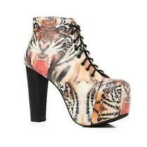 Jeffrey Campbell Platform Tiger Cat Lita Lace Up Bootie Shoe Heel Size 10 Photo
