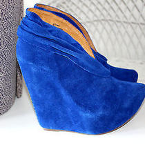 Jeffrey Campbell Platform Wedge Booties Shoes Zoomie Cobalt Blue Suede Sz 5 New Photo