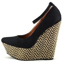 Jeffrey Campbell Platform Wedge Pizan Black Heels Espadrille 8 Photo