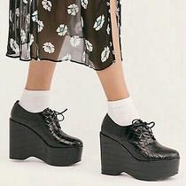 Jeffrey Campbell Platform Wedge Shoes Leonie Black Croc Leather Lace Up 8.5 New Photo