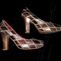 Jeffrey Campbell Prop Patch Brown Metallic Leather Shoes Size 6.5 Pumps Mint Photo