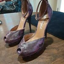 Jeffrey Campbell Purple Snakeprint Peeptoe Heels 8 .5 Vintage . Photo