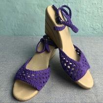 Jeffrey Campbell Purple Woven Wedge Sandals Size 7.5 Photo