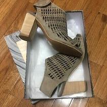 Jeffrey Campbell Quebec Triangle Cut Grey Suede Heels Sz 8.5 Shoes Wedge Sandal Photo
