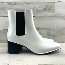 Jeffrey Campbell Rainy Day Chelsea Rain Boots Pull Up Waterproof White Women S9 Photo