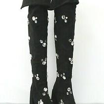 Jeffrey Campbell Ransom Jeweled Black Faux Suede Over the Knee Boots Size 9.5 Photo