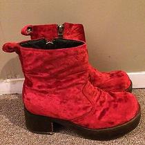 Jeffrey Campbell Red 90s Grunge Platform Creeper Boot Velvet Nastygal Solestruck Photo