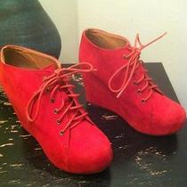 Jeffrey Campbell Red Suede Fashion-Ankle/wedge Booties. Size 8.5 Photo