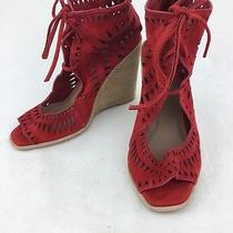 Jeffrey Campbell Red Suede Lace Up Open Toe Wedge Size 7.5m Photo