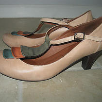 Jeffrey Campbell Retro Style T-Strap Tab Cl Beige Distressed Leather Size 11 M Photo