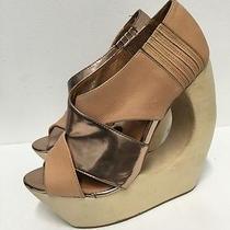 Jeffrey Campbell Rock-Lace Leather/metallic Wood Heel Platform Wedges Size 9 Photo