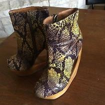 Jeffrey Campbell Rockaway Snake Skin Print Wooden Heels Cutout Booties...sz 7 Photo