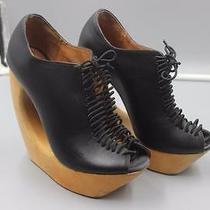 Jeffrey Campbell Rockin Black Leather Wood Platform High Wedge Heels  Size 6m Photo