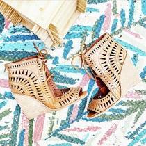Jeffrey Campbell Rodillo Laser Cut Lace Up Wedge Sandals 6 Womens Peep Toe Heels Photo