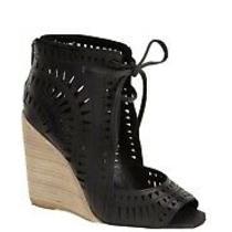 Jeffrey Campbell Rodillo Laser Cut Wedge Heels Sandals Size 7 Black Photo