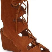 Jeffrey Campbell 'Romilly' Brown Tan Suede Gladiator Wedge Lace Up Sandal 7.5 Photo