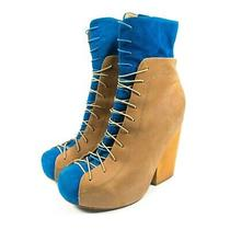 Jeffrey Campbell Ronson Leather Heel Boots - Women's Size 8 - Tan Blue Photo