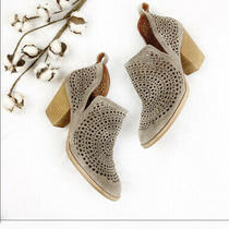 Jeffrey Campbell 'Rosalee' Ankle Cutout Booties in Taupe Suede Sz 7.5 Photo