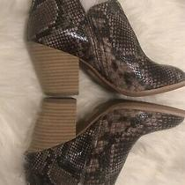 Jeffrey Campbell Rosalee Snake-Embossed Leather Ankle Booties Size 5 Photo