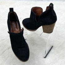 Jeffrey Campbell Rosalee Suede Booties Sz 6 Black Suede Cutout Sides Block Heel Photo