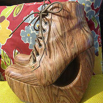 Jeffrey Campbell Roxie Lace Up in Wood Cut Out Wood Wedges Bootie Size 8 Photo