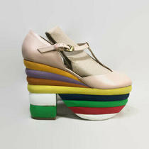 Jeffrey Campbell Salvatore Rainbow Platform Shoes Nude Leather T-Strap Sandals 9 Photo