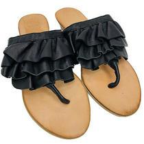 Jeffrey Campbell Sandals Sz 7 Dolled Up Ibiza Ruffled Black Leather Thong  Photo