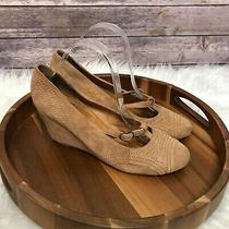 Jeffrey Campbell Santee Wedges T-Strap Heels Suede Round Toe Tan Size 10m Photo