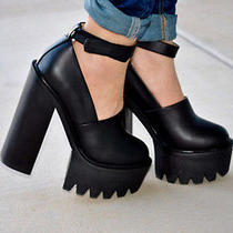 Jeffrey Campbell Scully Platform Heels Size 9 Black  New in Box  Photo