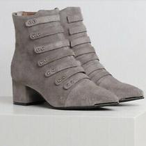 Jeffrey Campbell Serpico Suede Short Block Heel Ankle Boot Bootie Taupe Tan 8 Photo