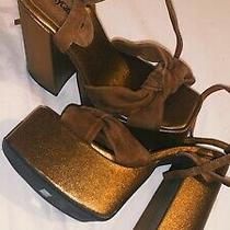 Jeffrey Campbell  Seventies Platform Heels Bronze Sz 7 Photo