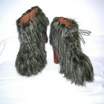 Jeffrey Campbell Shag Lita Boots Chewbacca Hairy Platforms Ankle Booties Nwot 7m Photo