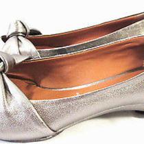Jeffrey Campbell Shoes Antique Silver Metallic Leather Ballet Flats Womens Sz 6 Photo