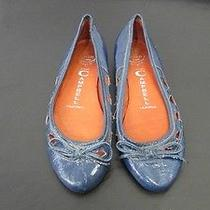 Jeffrey Campbell Shoes Blue Leather Bow Cutout Ballet Flat Used 5 Photo