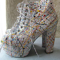 Jeffrey Campbell  Shoes Lita Paint Platforms White  Size 5.5 M Photo