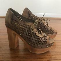 Jeffrey Campbell Shoes Pumps Woodies High Wooden Heel Brown Leather Open Toe 38 Photo