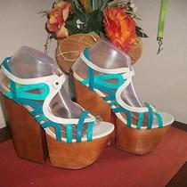 Jeffrey Campbell  Shoes  Sandals  Wedge New Size 9 Leatherteal Photo