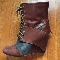 Jeffrey Campbell Shoes Warner Lace Up Booties Ankle Wedge Boots 7.5 Photo