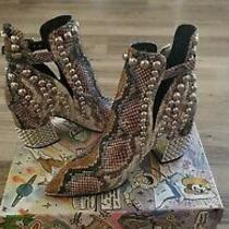 Jeffrey Campbell Silver Studded Grey Whine Snake Boots  (7)  Photo
