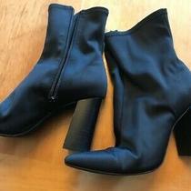 Jeffrey Campbell Siren Bootie Black Neoprene Nylon Stacked Heel Boots Size 8 Photo