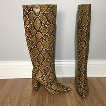 Jeffrey Campbell Siren Knee High Boots Yellow Snake Print Sz 8  New Photo
