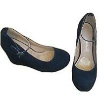 Jeffrey Campbell Size 10 Women Black Suede Ankle Strap Platform Wedges Photo