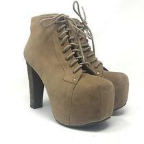 Jeffrey Campbell Size 8.5m Lita Beige Suede Wood Platforms Lace Up Boots Photo