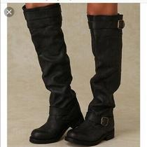 Jeffrey Campbell Slouchy Wishlist Knee High Biker Moto Riding Boots Size 7 Photo