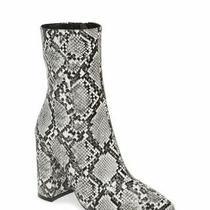 Jeffrey Campbell Snakeskin Ankle Bootie Boots Siren-3 Light Grey Heels Sz 6.5 Photo