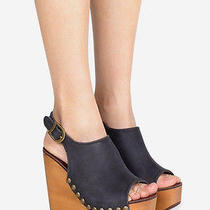 Jeffrey Campbell Snick Black Leather and Wood Wedge Sandal  Sz 6.5     Photo