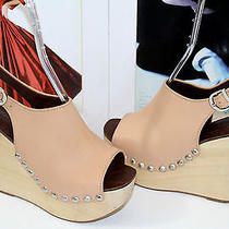 Jeffrey Campbell Snick Tan Leather and Wood Wedge Sandal  Sz 8.5     Sold Out Photo