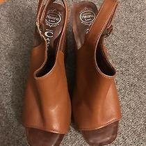Jeffrey Campbell Snick Tan Leather and Wood Wedge Sandal  Sz 9 Photo